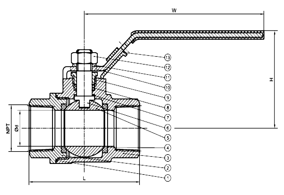 2 Pc Full Bore 1000 PSI Stainless Steel Threaded Ball Valve Drawing
