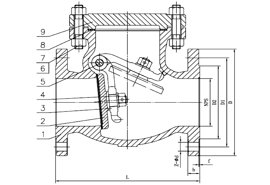 ANSI 150# SS316 Flange Swing Check Valve Drawing