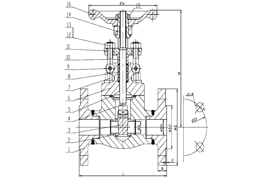 ANSI 150# Forged Steel Gate Valve Drawing