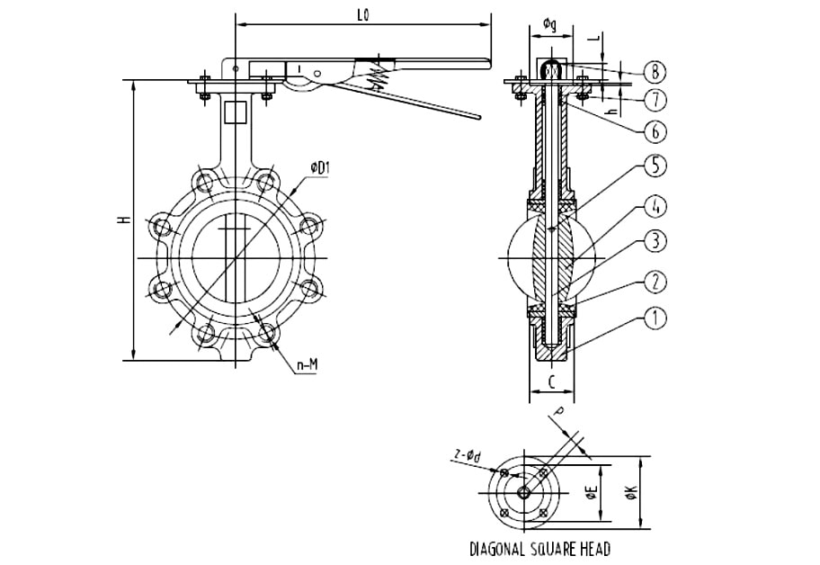 Lug Type Butterfly Valve Drawing