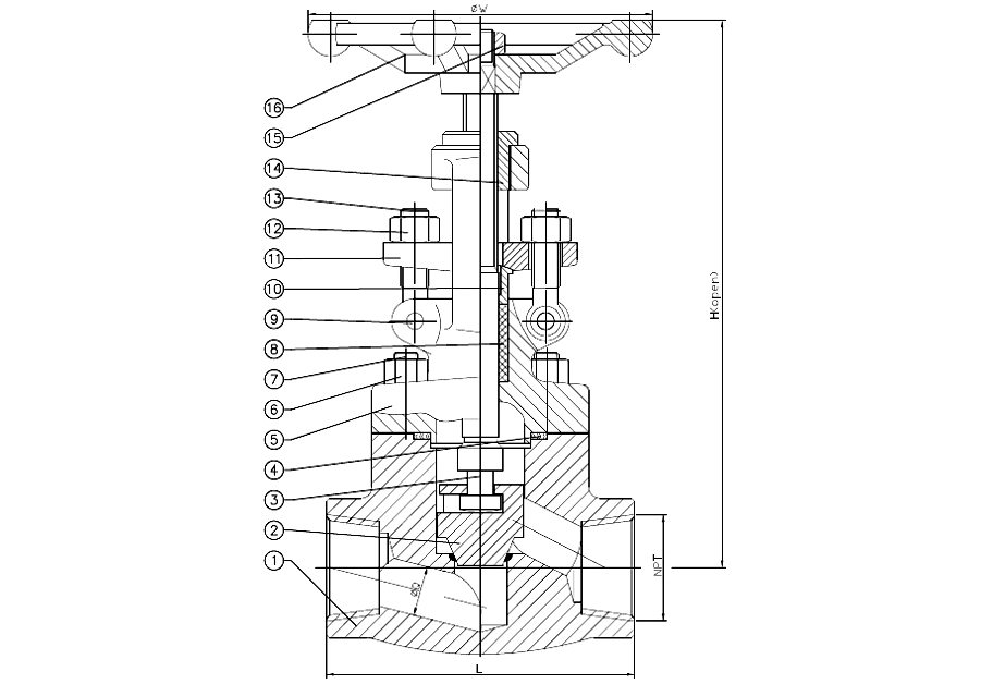 Threaded End Forged Steel Globe Valve Drawing