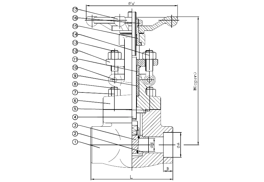 ANSI 150# Flange End Y-straineWelded End Forged Steel Gate Valve Drawing